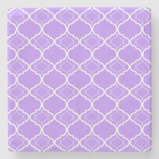 Lavender Purple Quatrefoil Geometric Pattern Stone Beverage Coaster
