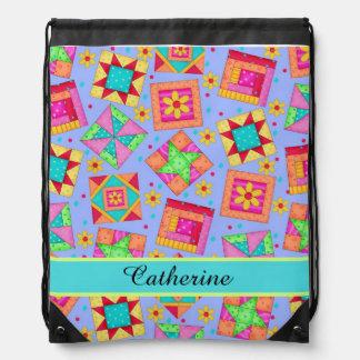 Lavender Purple Quilt Patchwork Block Art Name Drawstring Backpack
