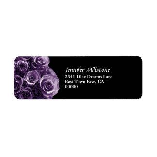 Lavender Purple Rose Bouquet Wedding Label