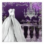 Lavender Purple Roses Chandelier Quinceanera Announcements