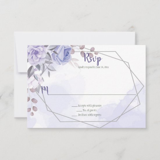 Lavender Purple Roses Silver Geometric Wedding RSVP Card