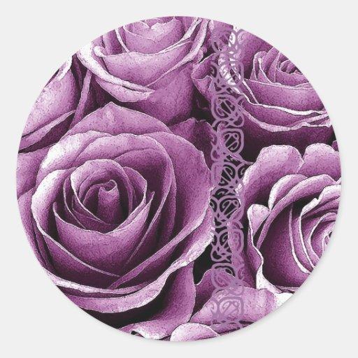 LAVENDER PURPLE Roses - Wedding Envelope Seal Classic Round Sticker