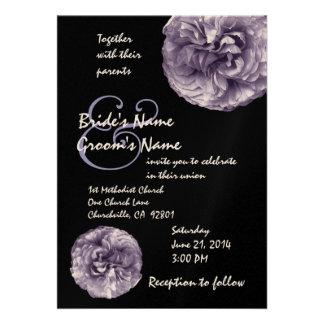 LAVENDER PURPLE Roses Wedding Invitation