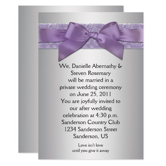 Lavender Purple Silver Brocade Ribbon Post Wedding Invitation