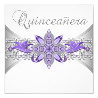 Lavender Purple Silver Quinceanera Invitations