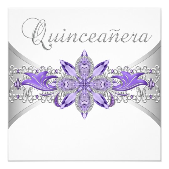 Lavender Purple Silver Quinceanera Invitations Zazzle Com