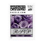 Lavender Purple & Silver Wedding RSVP Roses Stamps