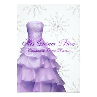 Lavender Purple Snowflakes White Quinceanera Card
