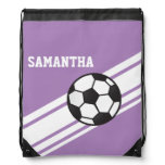 Lavender Purple Soccer Stripes Backpacks