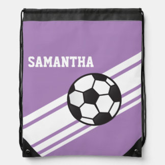 Lavender Purple Soccer Stripes Drawstring Bag