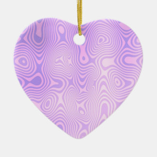 Lavender Purple Squiggly Abstract Art Ceramic Ornament