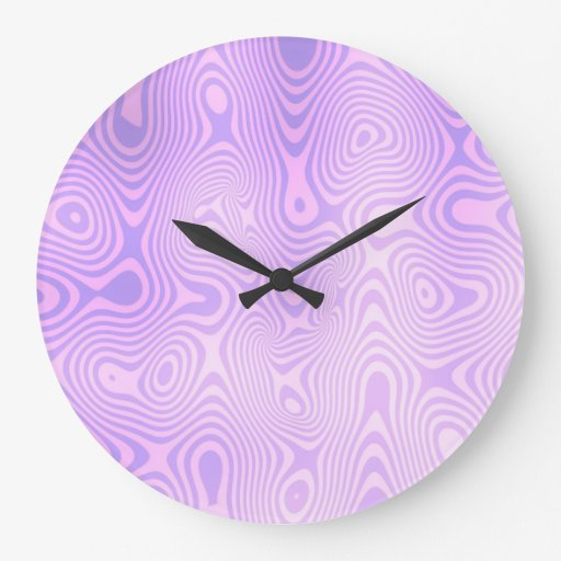 Lavender Purple Squiggly Abstract Art Clocks