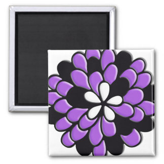 Lavender Purple Stained Glass Flower Fridge Magnets