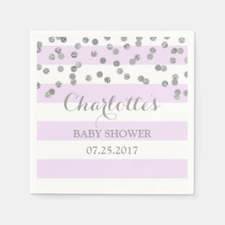 Lavender Purple Stripe Silver Confetti Baby Shower Napkin