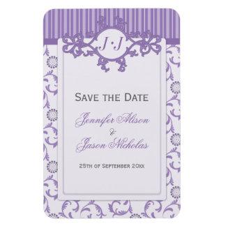Lavender Purple Stripes & Damask Save the Date Magnet