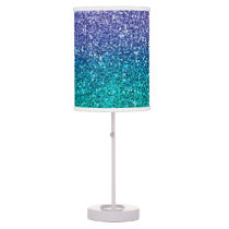 Lavender Purple & Teal Aqua Green Sparkly Glitter Table Lamp
