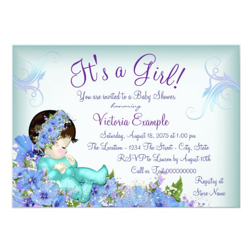 lavender purple teal blue floral baby shower 5x7 paper invitation card