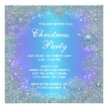 Lavender Purple Teal Blue Snowflake Christmas Personalized Invitation