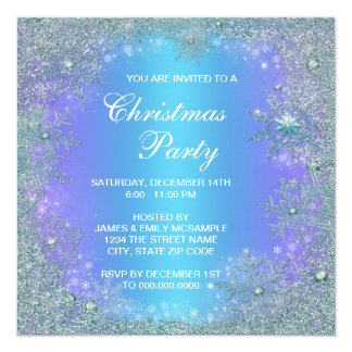Lavender Purple Teal Blue Snowflake Christmas Invitation