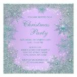 Lavender Purple Teal Blue Snowflake Christmas Personalized Invitations