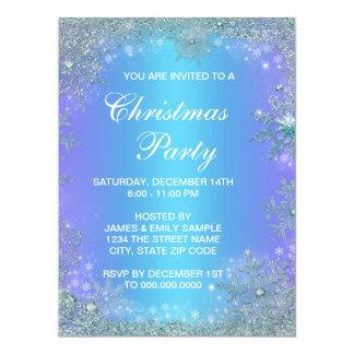 Lavender Purple Teal Blue Snowflake Christmas Custom Invites