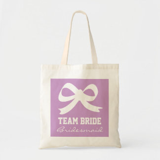 Lavender purple team bride bridesmaid tote bag