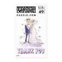 Lavender Purple Thank You Bride Groom Wedding Postage