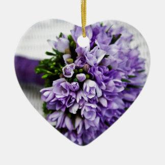 Lavender Purple Tulip Wedding Bouquet Ceramic Ornament