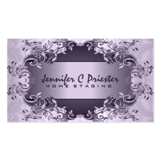 Lavender Purple Vintage Abstract Floral Design Business Card Template