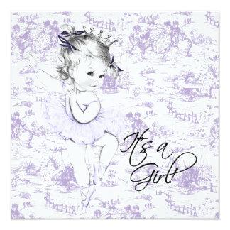Lavender Purple Vintage Toile Baby Girl Shower Announcements
