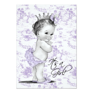 Lavender Purple Vintage Toile Baby Girl Shower Invite