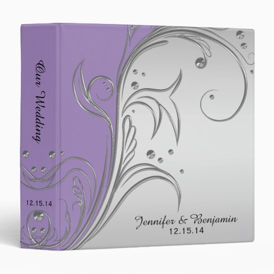 Lavender Purple Violet Gray Silver Scrolls Album Binder