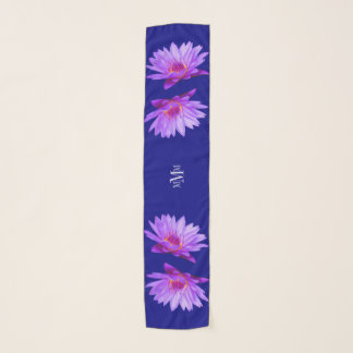Lavender Purple Water Lilies Long Chiffon Sca Scarf