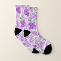 Lavender Purple Watercolor Floral Pattern Socks