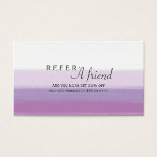 Lavender Purple Watercolor Salon REFER A FRIEND Business Card