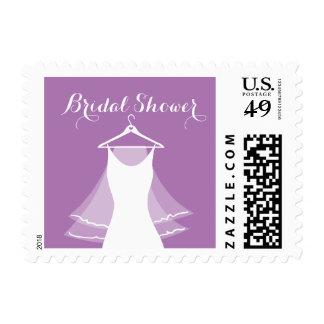 Lavender purple wedding gown bridal shower stamps
