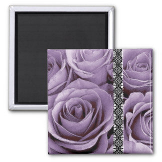 Lavender Purple Wedding Rose Bouquet with Lace 2 Inch Square Magnet