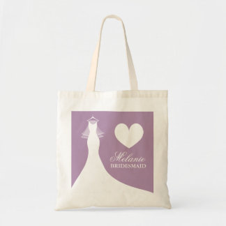 Lavender purple wedding tote bags for bridesmaids