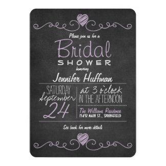 Lavender Purple & White; Chalkboard Bridal Shower Card