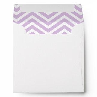 Lavender Purple White Chevron Lined Envelope