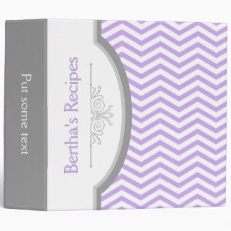 Lavender purple, white chevron with frame recipe 3 ring binder