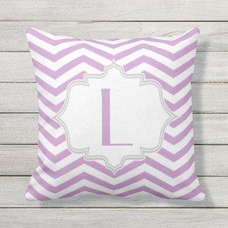 Lavender purple, white chevron zigzag pattern outdoor pillow
