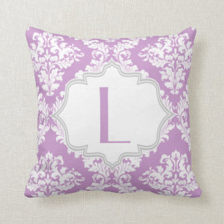 Lavender purple, white damask pattern throw pillow