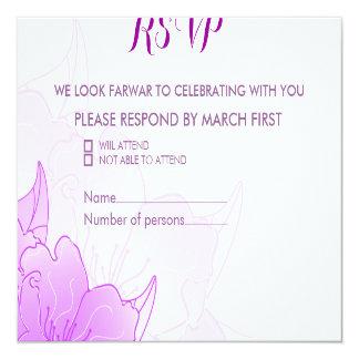 Lavender Purple & White Floral Wedding Design RSVP Card