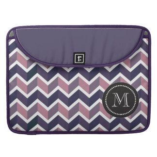 Lavender Purple White Geometric Chevron Pattern Sleeve For MacBook Pro