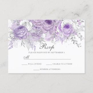 Lavender Purple White Silver Flower Wedding RSVP