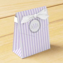 Lavender purple, white stripes monogram wedding favor box