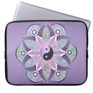 Lavender Purple Yin Yang Lotus Flower Mandala Computer Sleeve