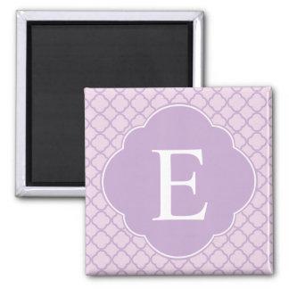 Lavender Quatrefoil Custom Monogram 2 Inch Square Magnet