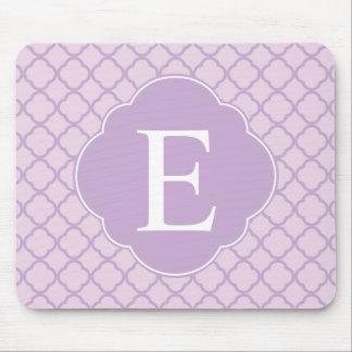 Lavender Quatrefoil Custom Monogram Mouse Pad